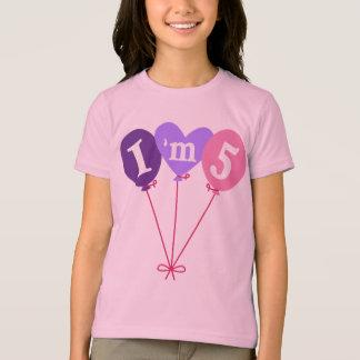 Cute Girls I'm Five 5th Birthday Balloon Tee