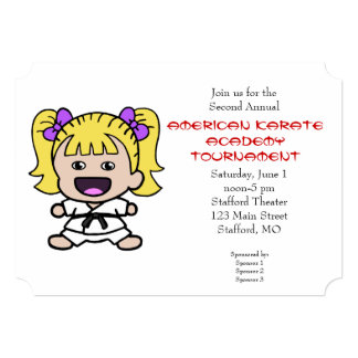 Cute Girls Karate Tournament Invitation