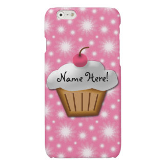 Cute Girls Kids Bakery Cupcake Pink Cherry on Top Glossy iPhone 6 Case