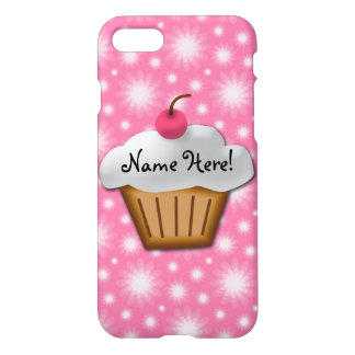 Cute Girls Kids Bakery Cupcake Pink Cherry on Top iPhone 8/7 Case