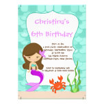 Cute Girls Mermaid Birthday Party Invitations