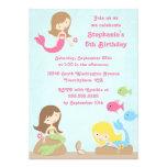 Cute girl's mermaids birthday party invitation
