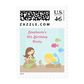 Cute girl's mermaids birthday party postage stamps