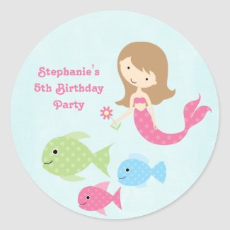 Cute girl's mermaids birthday party stickers sticker