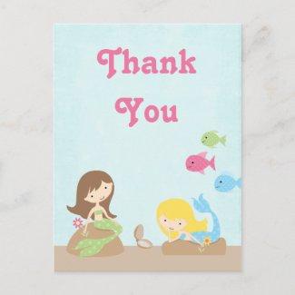 Cute girl's mermaids thank you postcard postcard