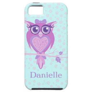 Cute girls owl purple & aqua iphone 5 case