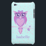 "Cute girls owl purple &amp; aqua ipod touch case<br><div class=""desc"">Keep your ipod protected with this graphic patterned case. Customise with the name of your choice. Currently reads Isabelle. Uniquely designed graphic owl by Sarah Trett.</div>"
