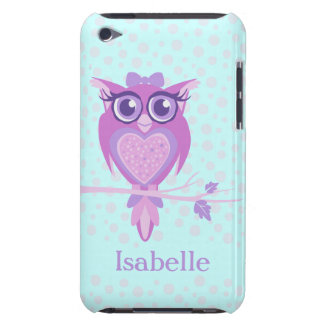 Cute girls owl purple & aqua ipod touch case
