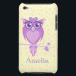 "Cute girls owl purple &amp; lemon ipod touch case<br><div class=""desc"">Keep your ipod protected with this graphic owl and spotted patterned case. Uniquely designed graphic owl by Sarah Trett.</div>"