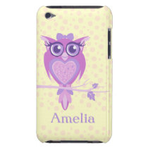 Cute girls owl purple & lemon ipod touch case