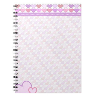 Cute Girls Pastel Hearts Spiral Note Book