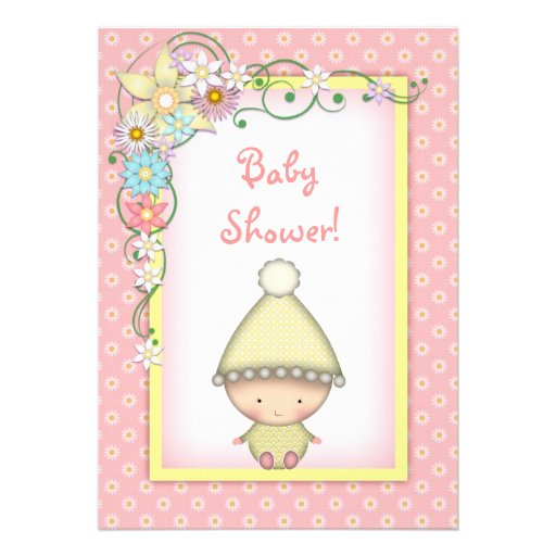 cute girls pink and yellow spring baby shower 5x7 paper invitation