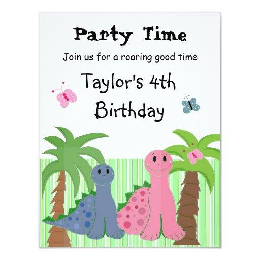 "Cute Girls Pink Dinosaur Birthday Invitation 4.25"" X 5.5"" Invitation Card"