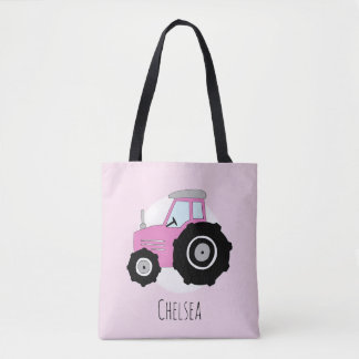 Cute Girl's Pink Farmer's Tractor with Name Tote Bag
