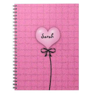 Cute Girls Pink Heart Balloon School Notebooks