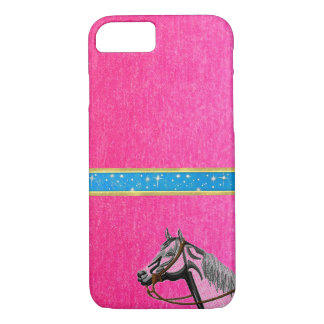 Cute Girls Pink Horse Sparkles Design iPhone Case