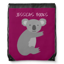 Cute girls pink koala bear drawstring backpack bag