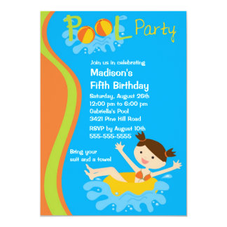 CUTE Girl's Pool Party Birthday Invitation