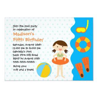 CUTE Girl's Pool Party Birthday Invitation