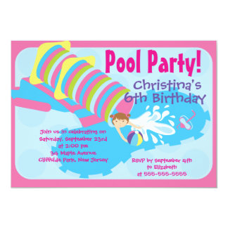"""Cute Girls Pool Party Birthday Party Invitations 5"""" X 7"""" Invitation Card"""