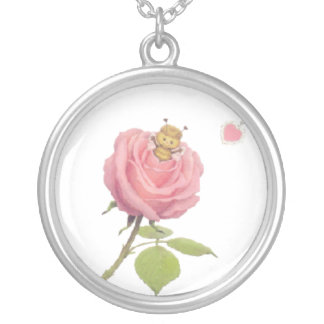 Cute Girls Pretty Pink Rose Flower And Bumble Bee Necklaces
