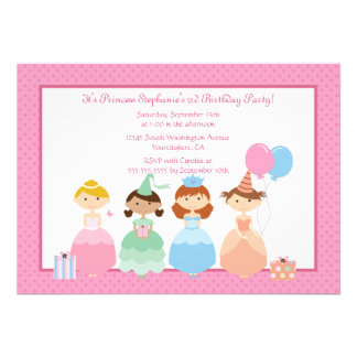 Cute girl's princess birthday party invitation