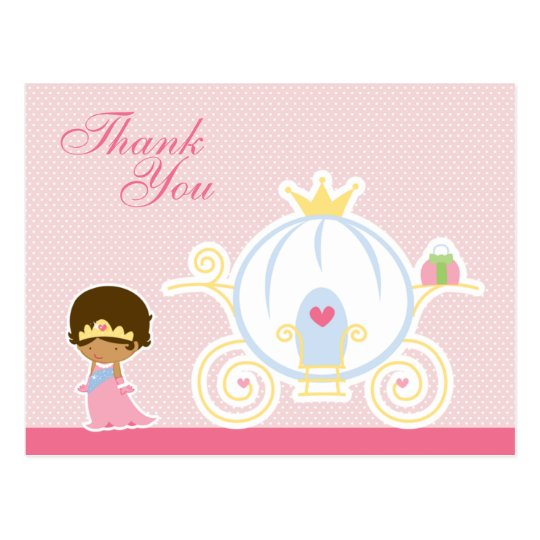 Cute girl's princess carriage thank you postcard