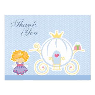 Cute girl's princess carriage thank you postcard