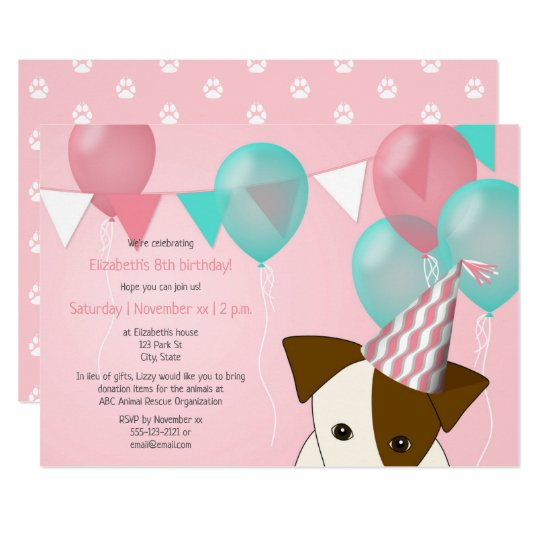 Cute Girls Puppy Birthday Party Pink Teal Balloons Invitation
