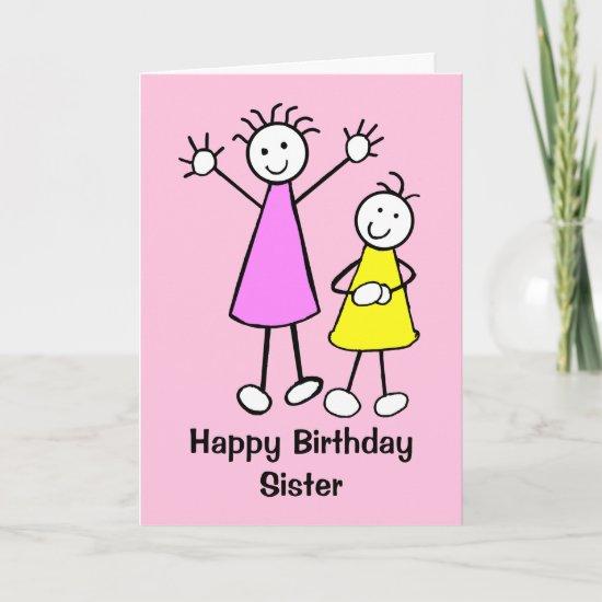 Cute Girls Sister Happy Birthday Card