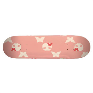 Cute Girls Skatedeck with Skulls and Butterflies Skateboard