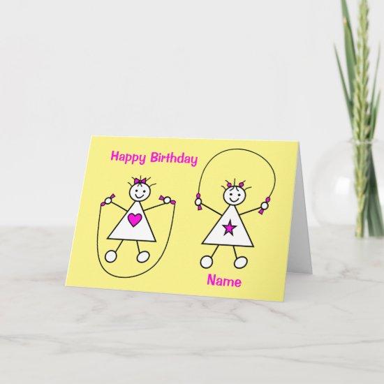 Cute Girls Skipping Birthday Card