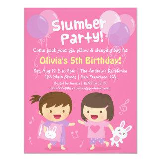 Cute Girls Sleepover Slumber Birthday Party 4.25x5.5 Paper Invitation Card