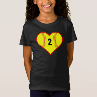 Cute Girls Softball Heart Custom T-Shirt