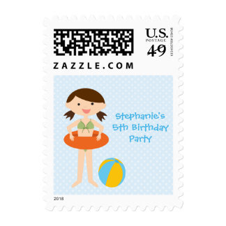 Cute girl's summer pool party birthday stamps