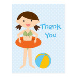 Cute girl's summer pool party thank you postcard