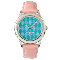Cute girls watch with retro argyle diamond pattern