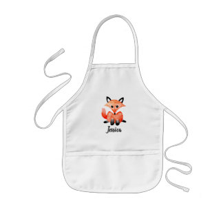 Cute Girls Watercolor Woodland Wildlife Fox & Name Kids' Apron