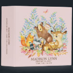 """Cute GIRLS Woodland Animals Baby Photo Album 3 Ring Binder<br><div class=""""desc"""">Cute woodland animals for a baby girl. Our cute forest scene featuring a beer,  deer,  fox,  owl,  raccoon,  &amp; moose. Matching items available in our shop.</div>"""