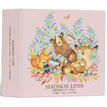 Cute GIRLS Woodland Animals Baby Photo Album 3 Ring Binder