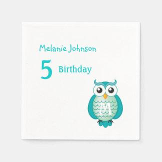 Cute Girly Aqua Owl with Monogram Birthday Napkin Paper Napkin