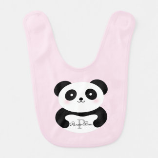 Cute Girly Baby Girl Panda Bear Monogram Bib