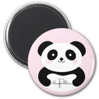 Cute Girly Baby Panda Bear Monogram Magnet
