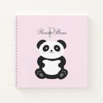 Cute Girly Baby Panda Bear Monogram Notebook