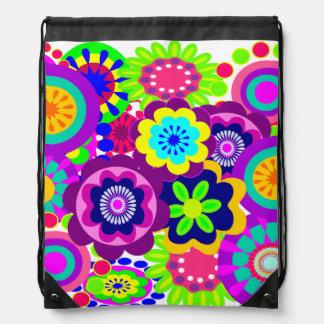 cute girly backpack, flowers drawstring backpack