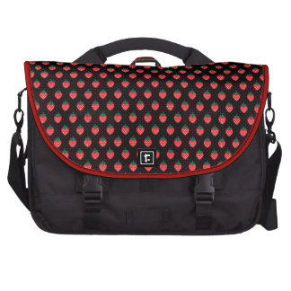 Cute girly black pink strawberry patterns monogram laptop computer bag