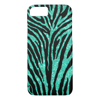 Cute Girly Blue Faux Glitter Black Zebra Pattern iPhone 7 Case