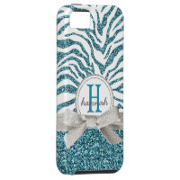 Cute Girly Blue Zebra Monogram  Faux Glitter iPhone SE/5/5s Case