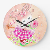 Cute Girly Bunny Large Clock