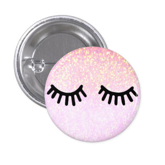 cute girly cartoon lashes on faux pink glitter button